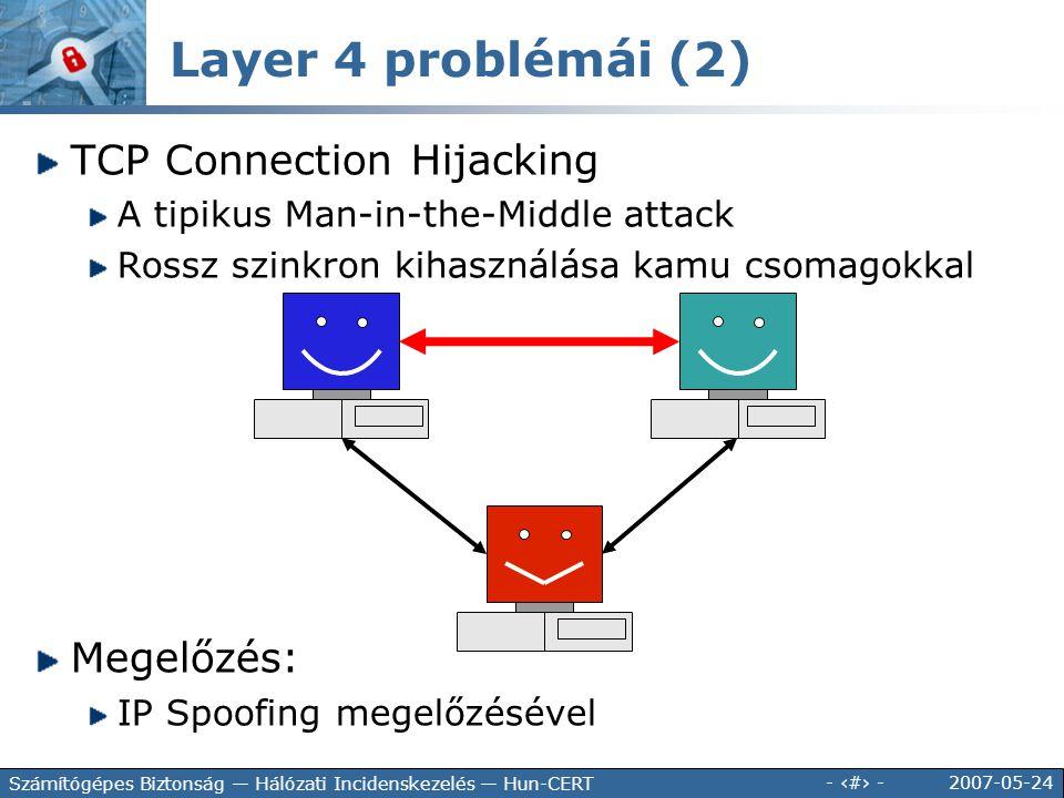 Layer 4 problémái (2) TCP Connection Hijacking Megelőzés: