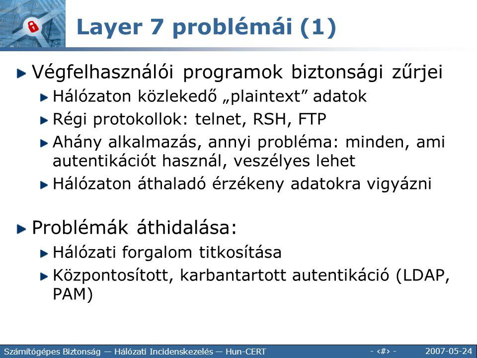 Layer 7 problémái (1) Végfelhasználói programok biztonsági zűrjei