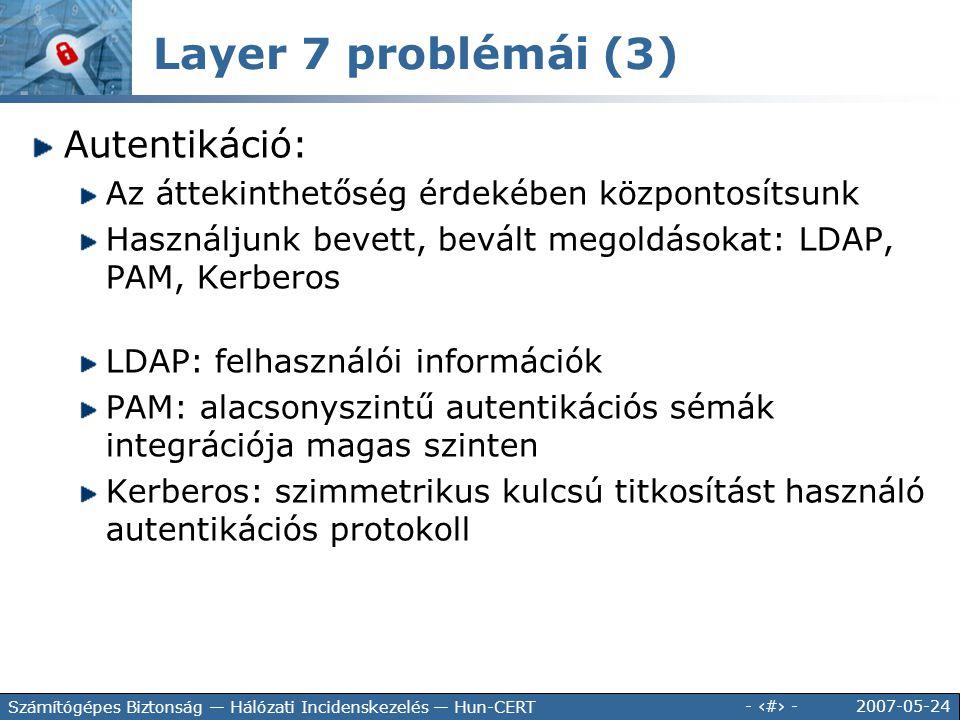Layer 7 problémái (3) Autentikáció: