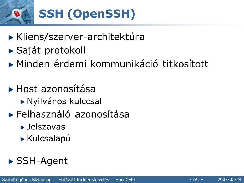 SSH (OpenSSH) Kliens/szerver-architektúra Saját protokoll