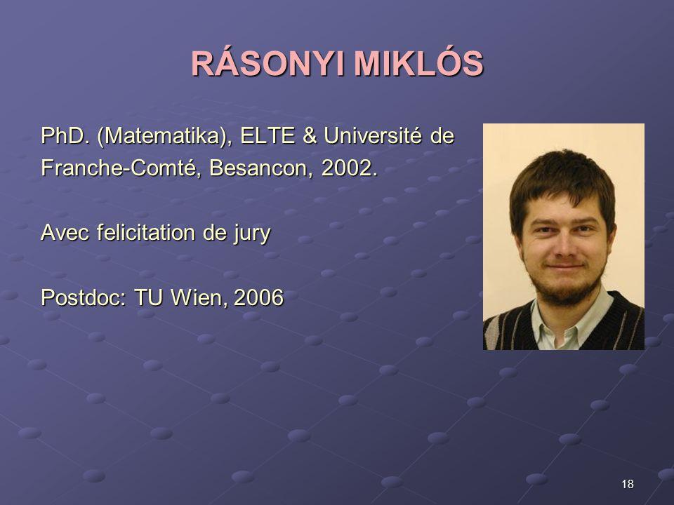 RÁSONYI MIKLÓS PhD. (Matematika), ELTE & Université de