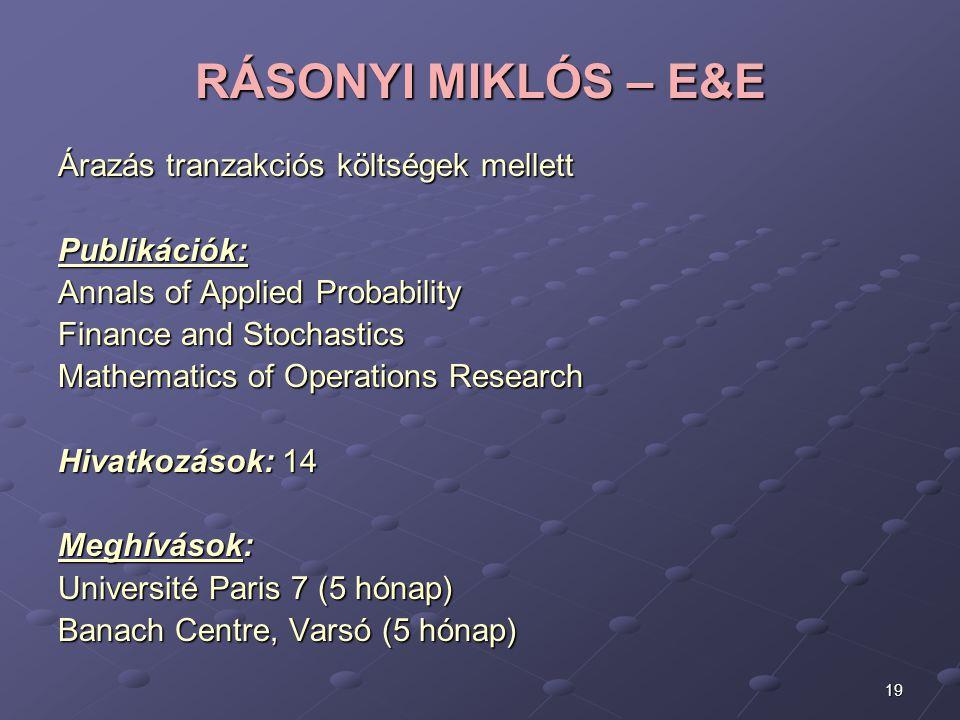 RÁSONYI MIKLÓS – E&E Árazás tranzakciós költségek mellett Publikációk: