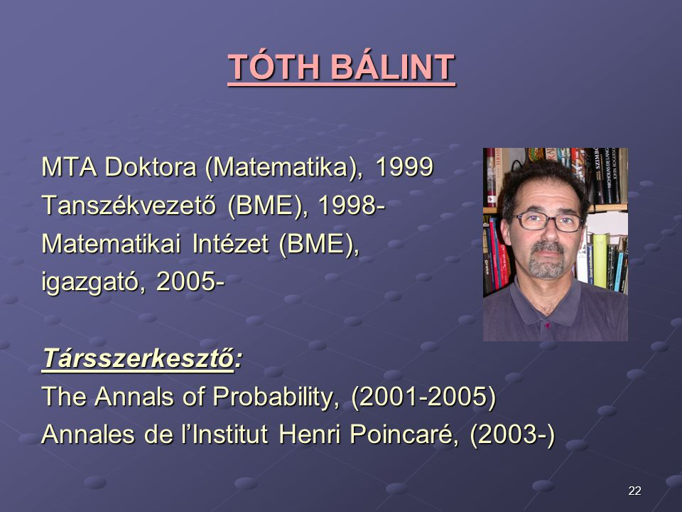 TÓTH BÁLINT MTA Doktora (Matematika), 1999 Tanszékvezető (BME), 1998-