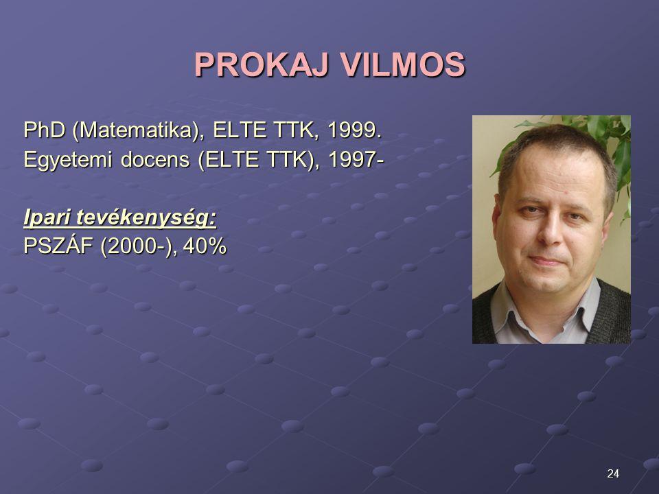 PROKAJ VILMOS PhD (Matematika), ELTE TTK, 1999.