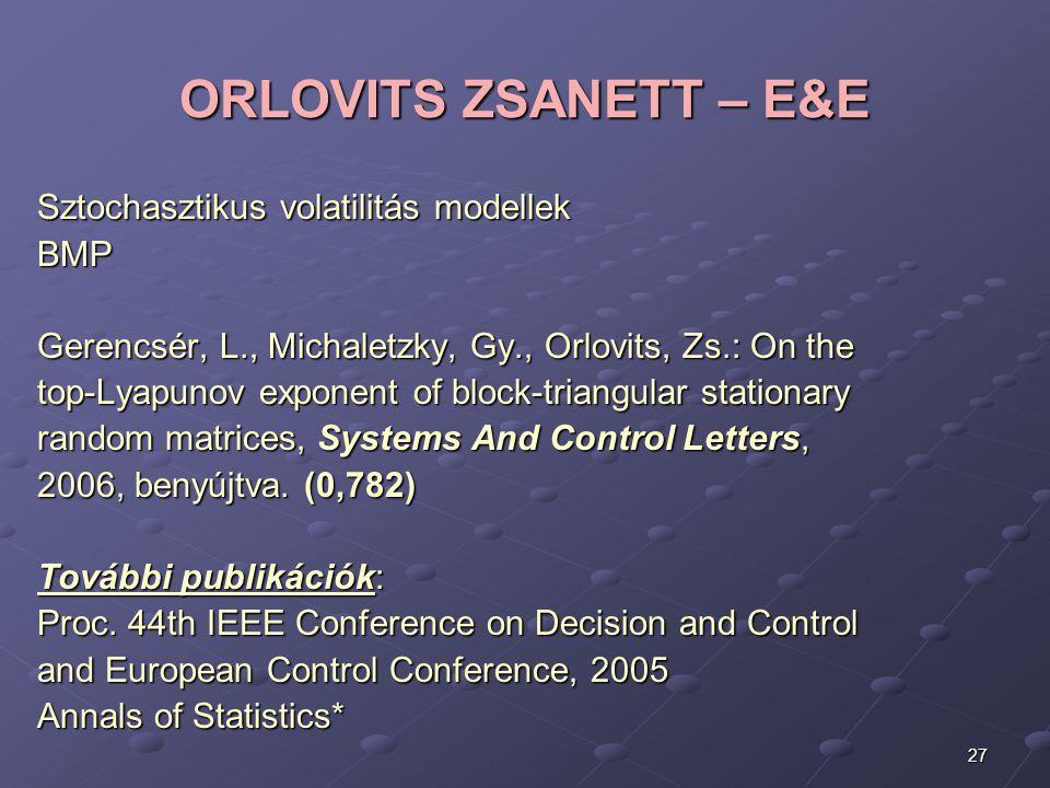ORLOVITS ZSANETT – E&E Sztochasztikus volatilitás modellek BMP