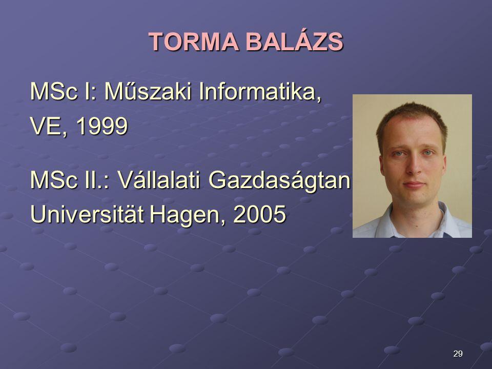 TORMA BALÁZS MSc I: Műszaki Informatika, VE, 1999