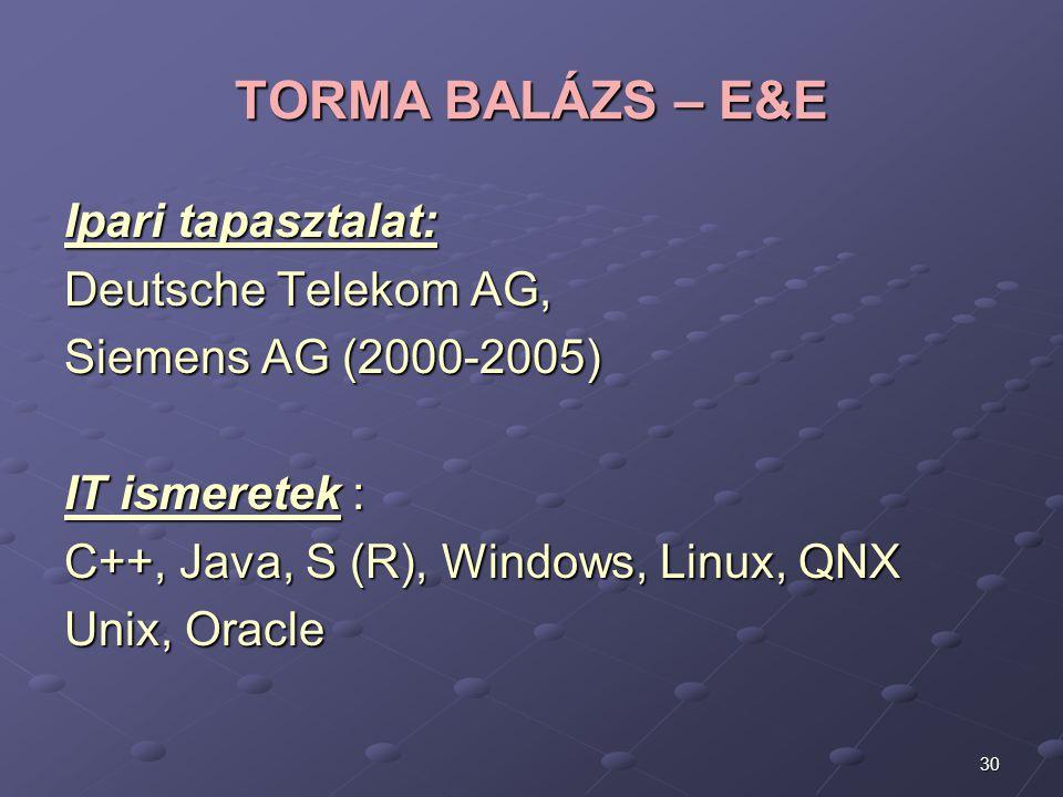TORMA BALÁZS – E&E Ipari tapasztalat: Deutsche Telekom AG,