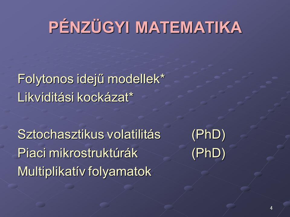 PÉNZÜGYI MATEMATIKA Folytonos idejű modellek* Likviditási kockázat*