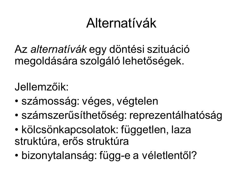 Alternatívák Az alternatívák egy döntési szituáció megoldására szolgáló lehetőségek. Jellemzőik: számosság: véges, végtelen.