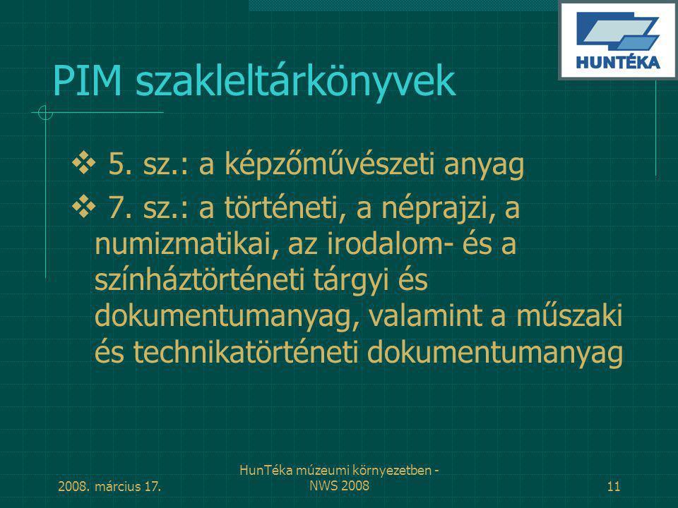 PIM szakleltárkönyvek