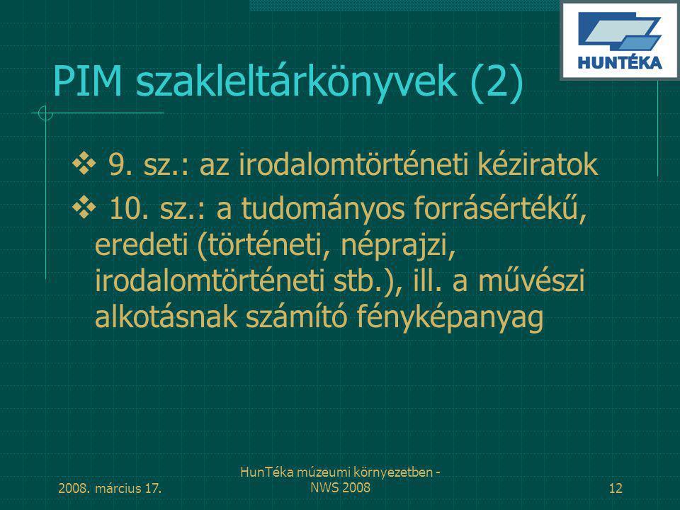 PIM szakleltárkönyvek (2)