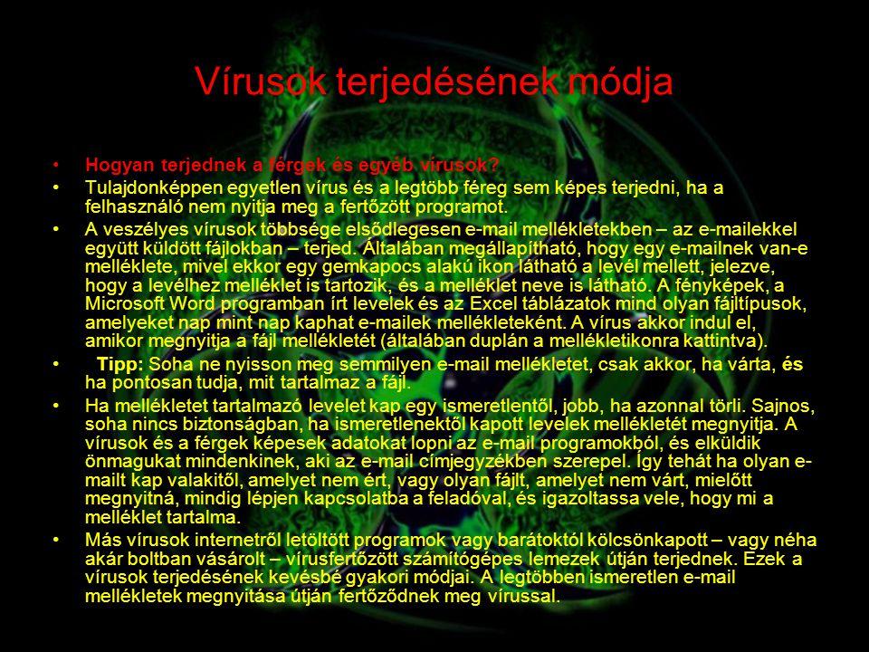 Vírusok terjedésének módja