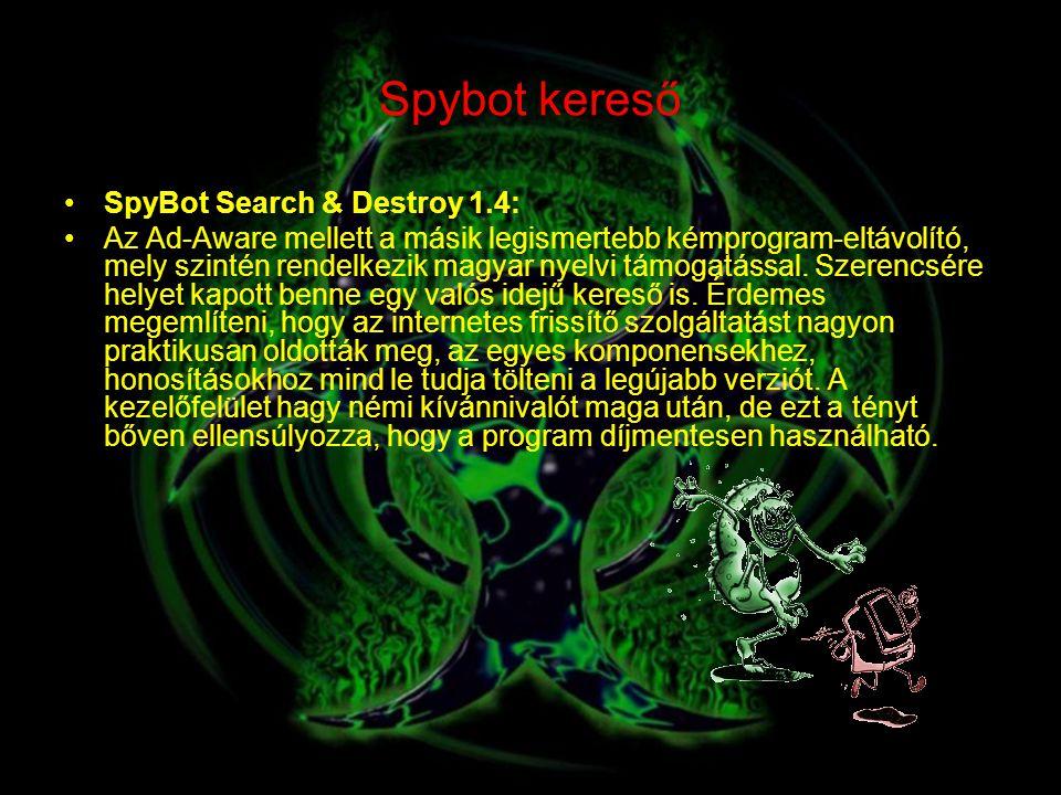 Spybot kereső SpyBot Search & Destroy 1.4: