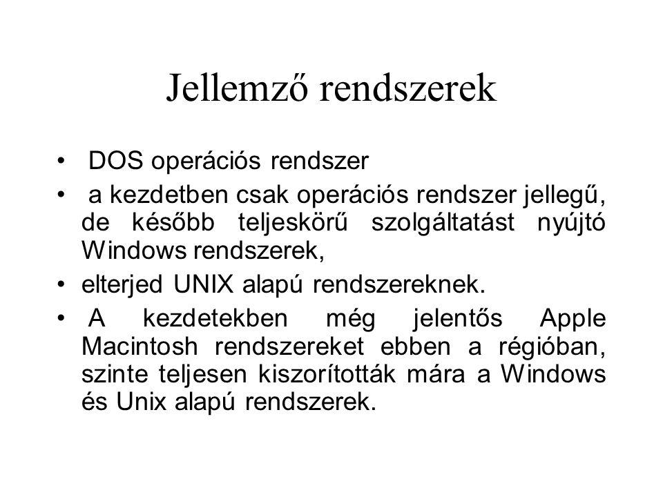 Jellemző rendszerek DOS operációs rendszer