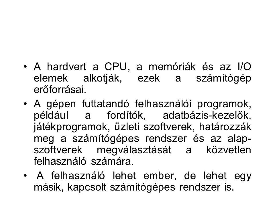 A hardvert a CPU, a memóriák és az I/O elemek alkotják, ezek a számítógép erőforrásai.