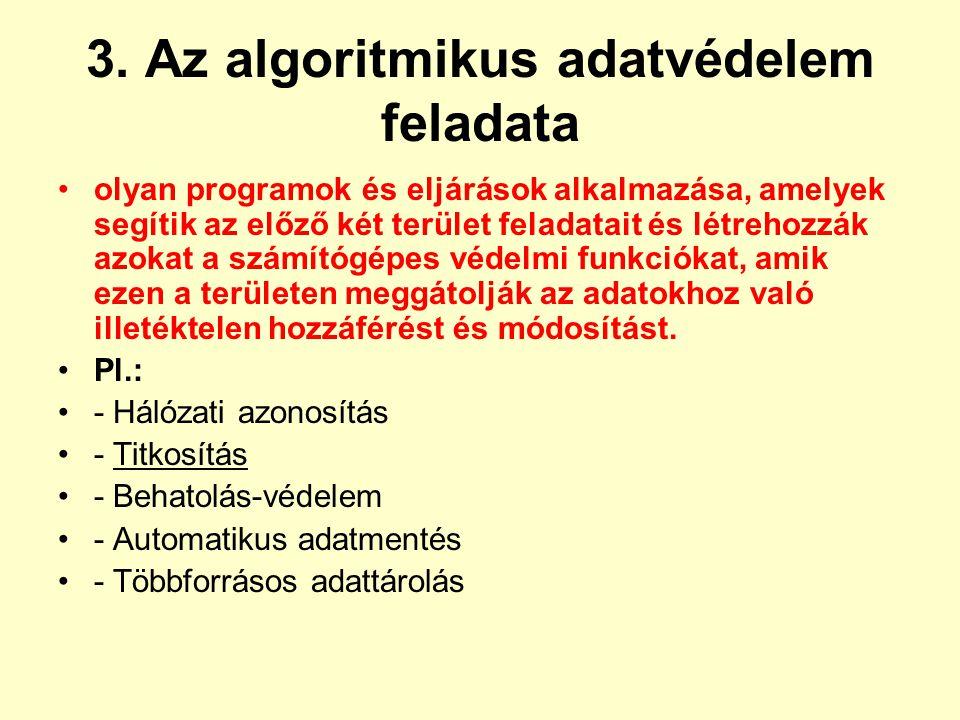 3. Az algoritmikus adatvédelem feladata