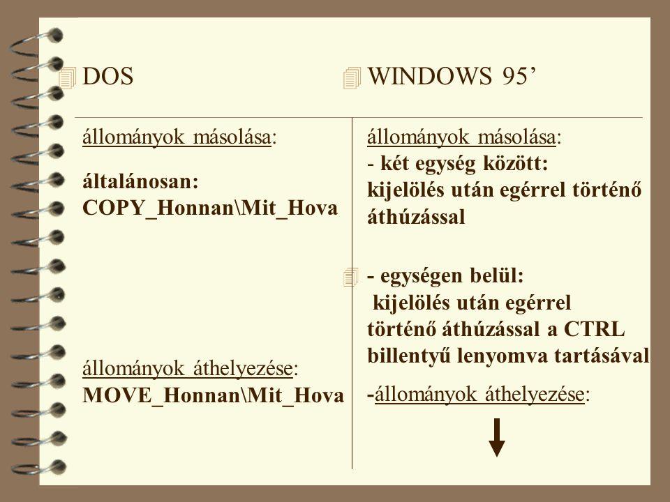 DOS állományok másolása: általánosan: COPY_Honnan\Mit_Hova állományok áthelyezése: MOVE_Honnan\Mit_Hova