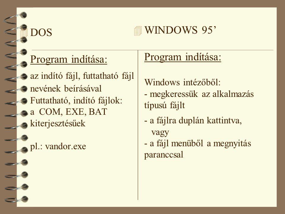 WINDOWS 95' Program indítása: Windows intézőből: - megkeressük az alkalmazás típusú fájlt - a fájlra duplán kattintva, vagy - a fájl menüből a megnyitás paranccsal