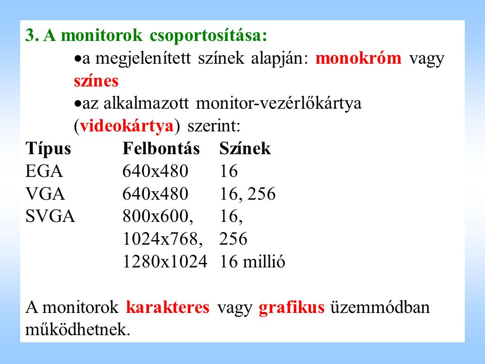 3. A monitorok csoportosítása: