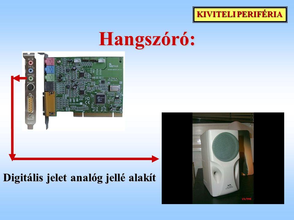 KIVITELI PERIFÉRIA Hangszóró: Digitális jelet analóg jellé alakít