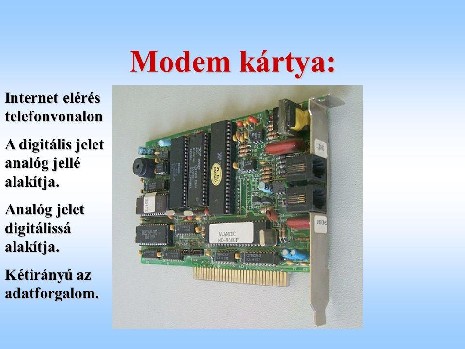Modem kártya: Internet elérés telefonvonalon