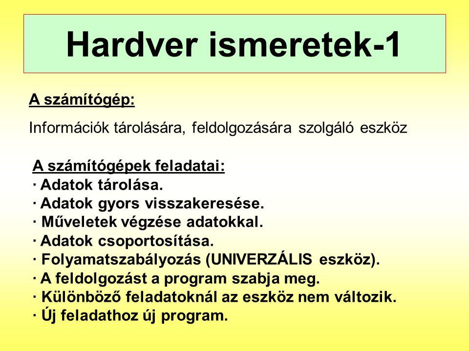 Hardver ismeretek-1 A számítógép: