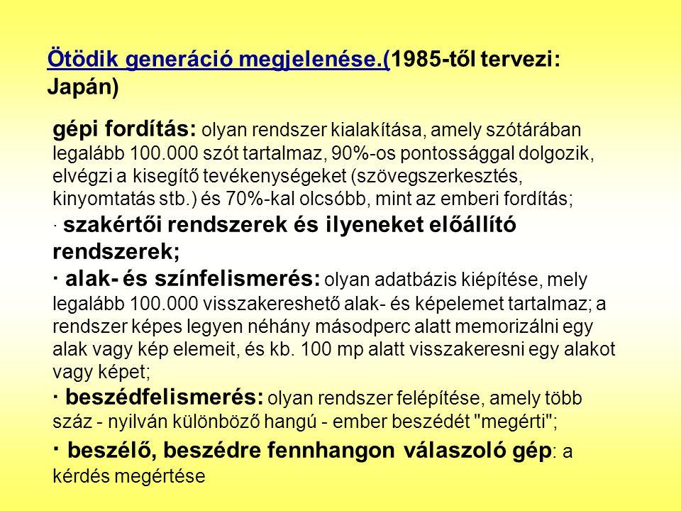Ötödik generáció megjelenése.(1985-től tervezi: Japán)