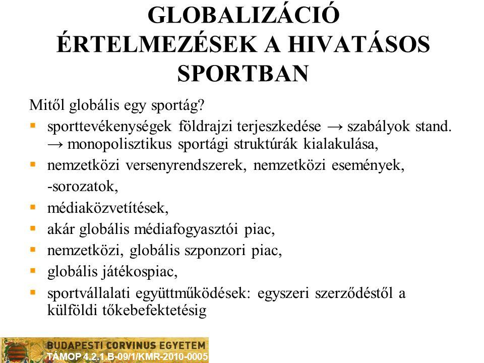 GLOBALIZÁCIÓ ÉRTELMEZÉSEK A HIVATÁSOS SPORTBAN