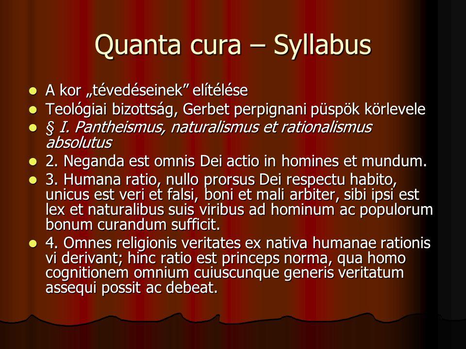 """Quanta cura – Syllabus A kor """"tévedéseinek elítélése"""