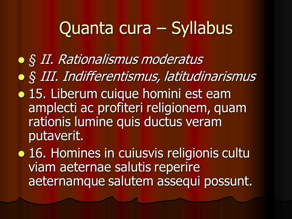 Quanta cura – Syllabus § II. Rationalismus moderatus