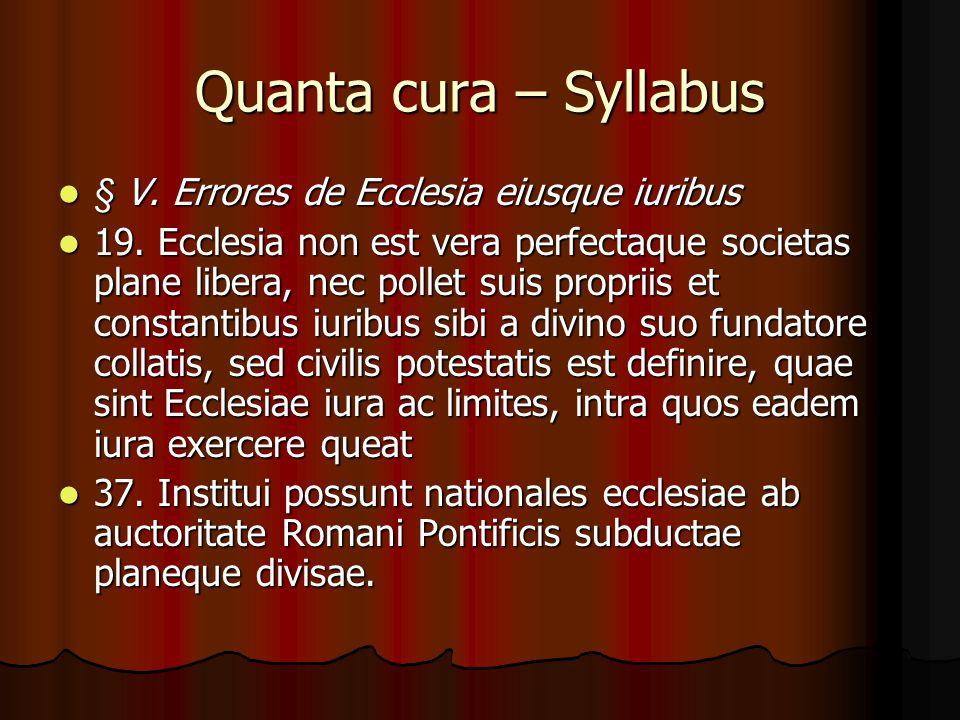 Quanta cura – Syllabus § V. Errores de Ecclesia eiusque iuribus