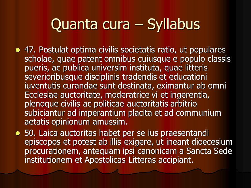 Quanta cura – Syllabus