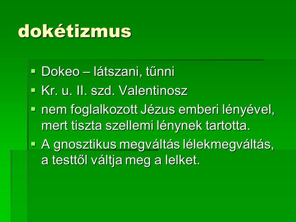dokétizmus Dokeo – látszani, tűnni Kr. u. II. szd. Valentinosz