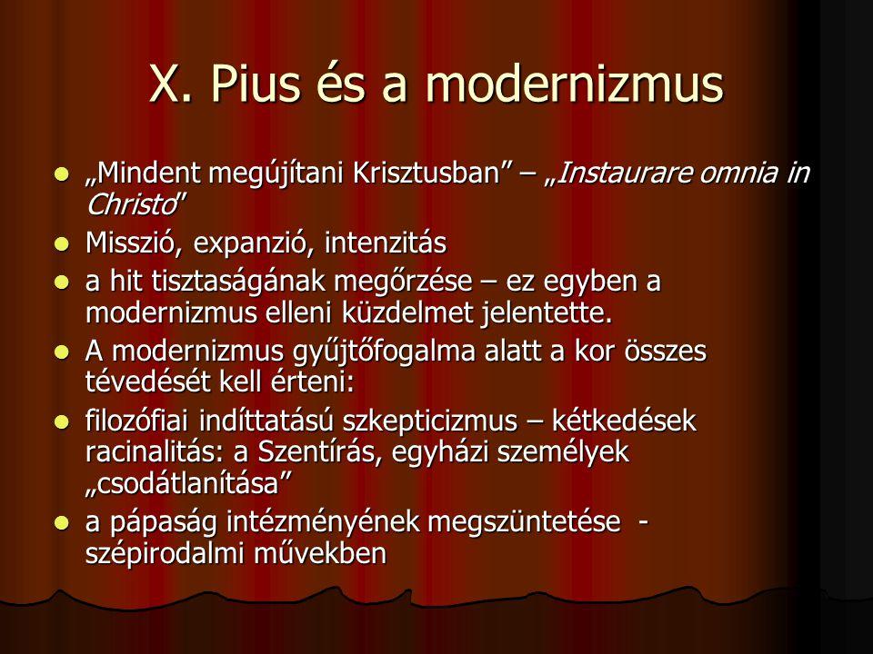 """X. Pius és a modernizmus """"Mindent megújítani Krisztusban – """"Instaurare omnia in Christo Misszió, expanzió, intenzitás."""