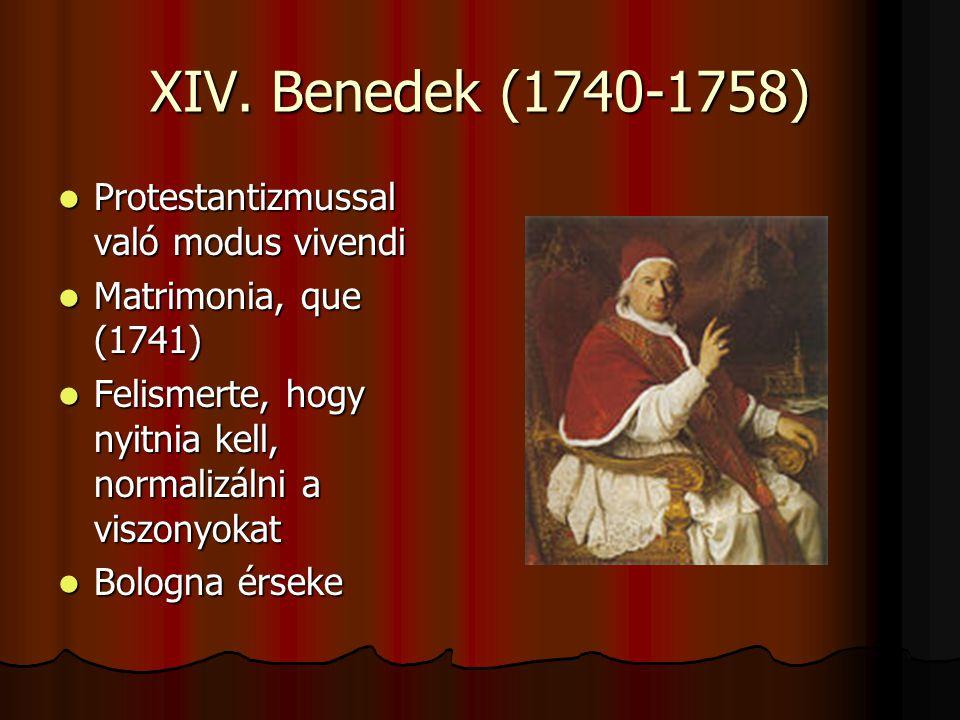 XIV. Benedek (1740-1758) Protestantizmussal való modus vivendi