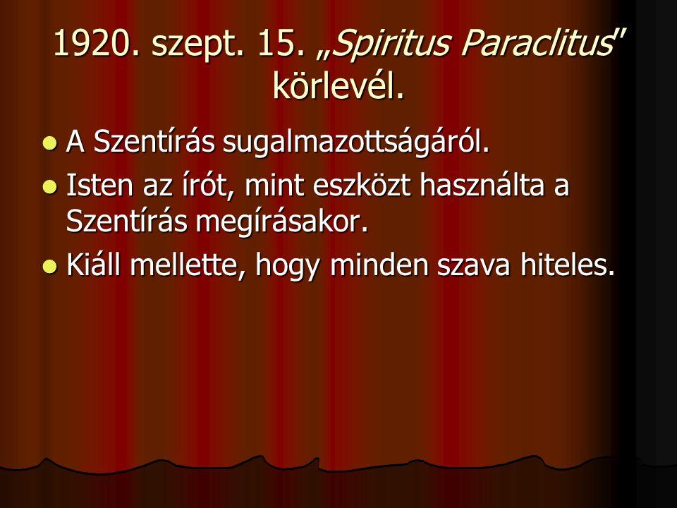 "1920. szept. 15. ""Spiritus Paraclitus körlevél."