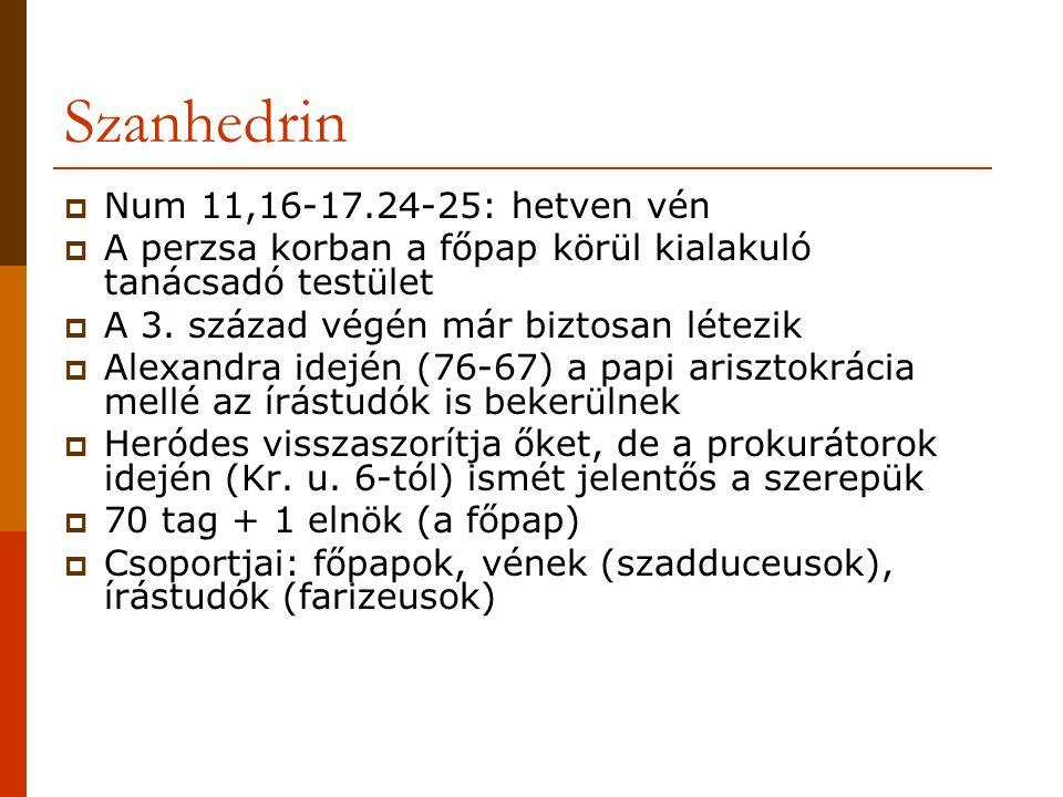 Szanhedrin Num 11,16-17.24-25: hetven vén