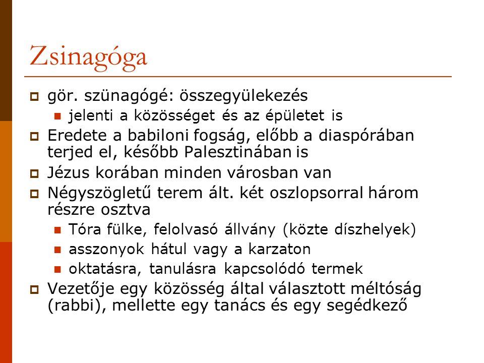 Zsinagóga gör. szünagógé: összegyülekezés