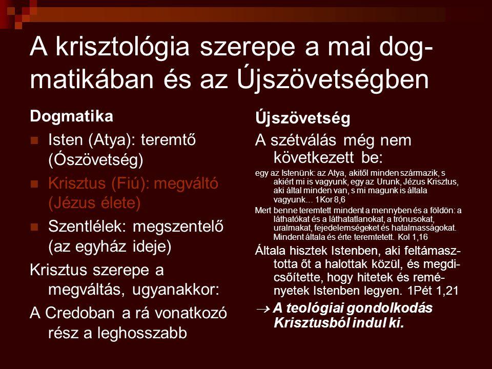 A krisztológia szerepe a mai dog-matikában és az Újszövetségben