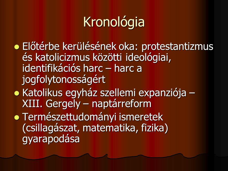 Kronológia Előtérbe kerülésének oka: protestantizmus és katolicizmus közötti ideológiai, identifikációs harc – harc a jogfolytonosságért.
