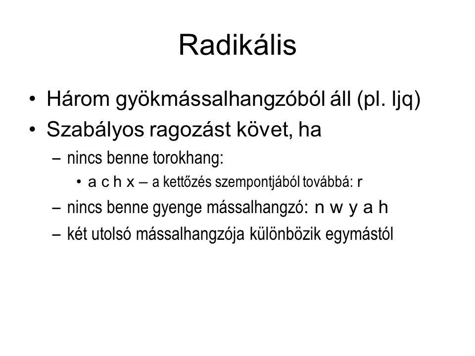 Radikális Három gyökmássalhangzóból áll (pl. ljq)