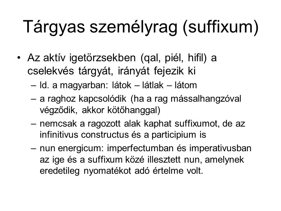 Tárgyas személyrag (suffixum)