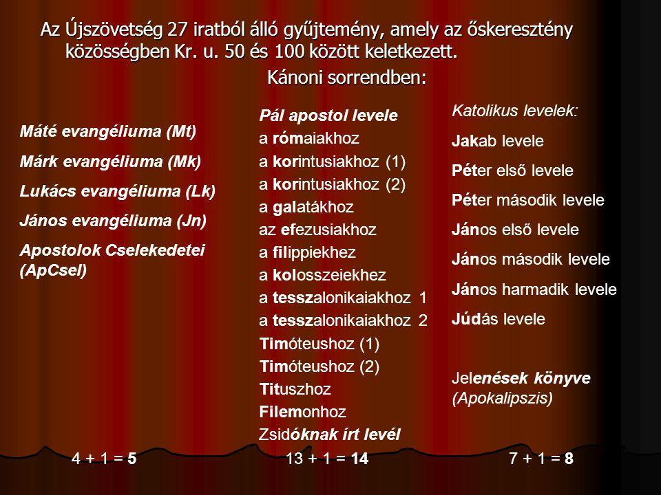 Az Újszövetség 27 iratból álló gyűjtemény, amely az őskeresztény közösségben Kr. u. 50 és 100 között keletkezett.