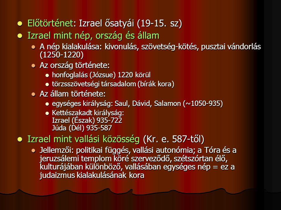 Előtörténet: Izrael ősatyái (19-15. sz)