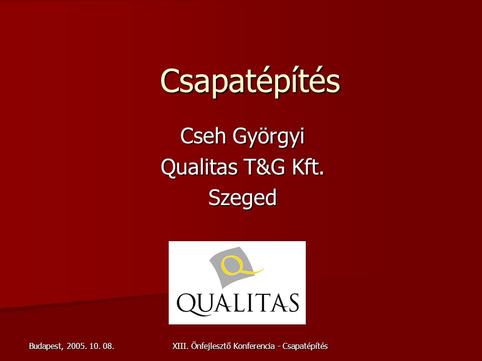 Cseh Györgyi Qualitas T&G Kft. Szeged
