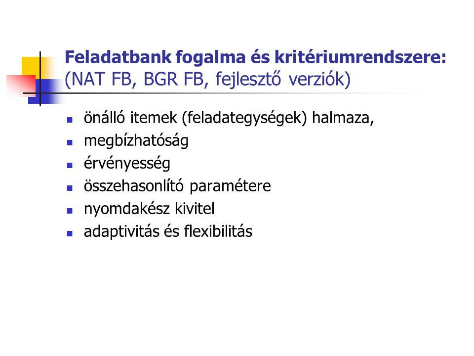 Feladatbank fogalma és kritériumrendszere: (NAT FB, BGR FB, fejlesztő verziók)