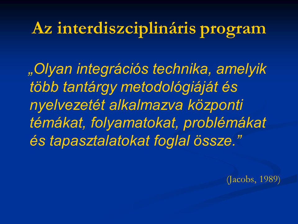 Az interdiszciplináris program