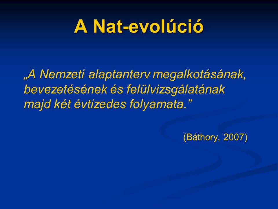 """A Nat-evolúció """"A Nemzeti alaptanterv megalkotásának, bevezetésének és felülvizsgálatának majd két évtizedes folyamata."""