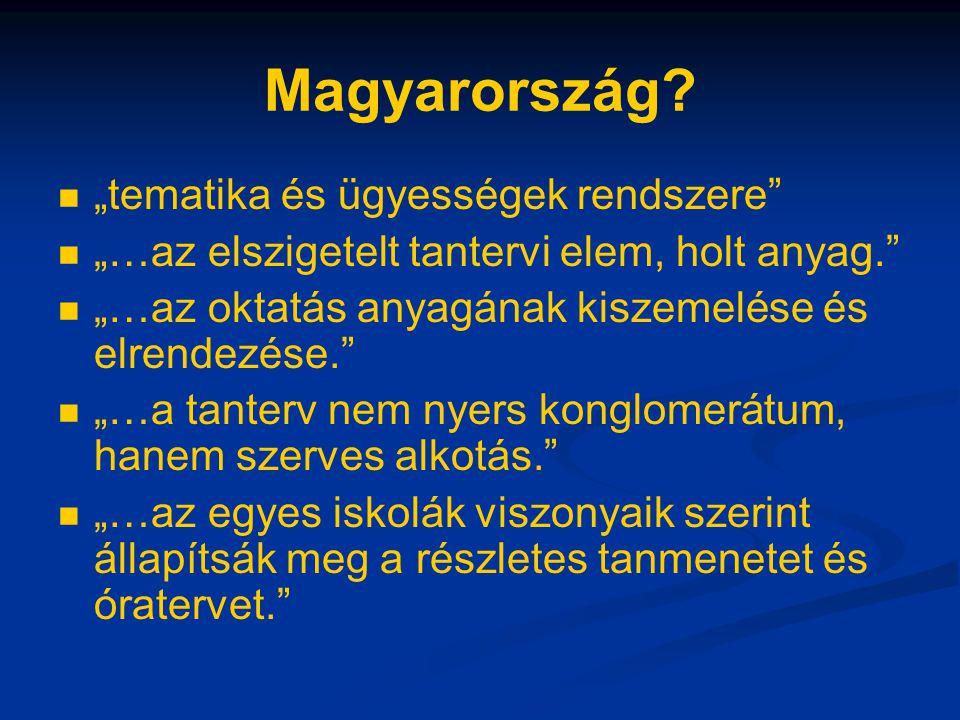 """Magyarország """"tematika és ügyességek rendszere"""