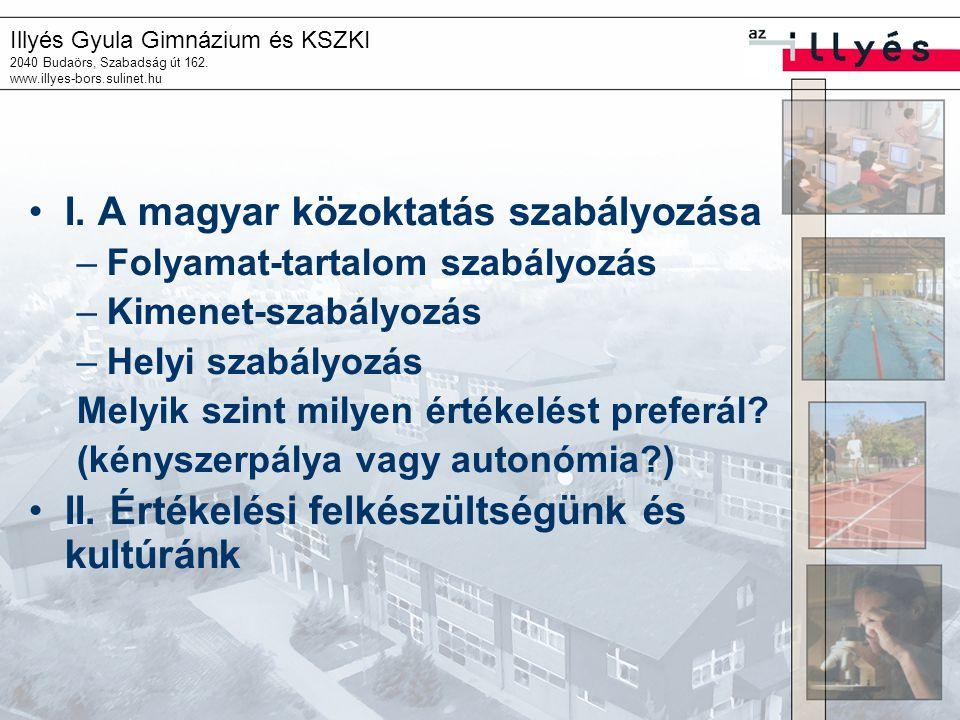 I. A magyar közoktatás szabályozása
